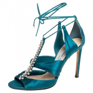 Jimmy Choo Teal Blue Satin Kenny Embellished Ankle Wrap Sandals Size 39
