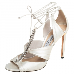 Jimmy Choo Off White Satin Crystal Embellished Ankle Wrap Sandals Size 39