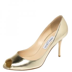 Jimmy Choo Metallic Gold Leather Evelyn Peep Toe Pumps Size 40