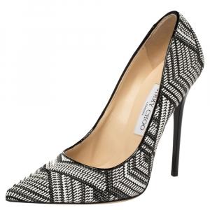 حذاء كعب عالى جيمى تشو أونك قماش مغزول أسود مقاس 37.5