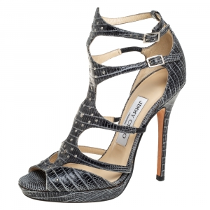 Jimmy Choo Grey Croc Embossed Leather Studded Strappy Sandals Size 36