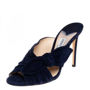 Jimmy Choo Blue Suede Keely Slide Sandals Size 37 - used