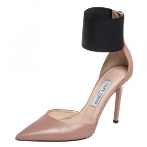 حذاء كعب عالى جيمى تشو ملتف حول الكاحل  ترينى قماش وجلد أسود / بيج مقاس 38