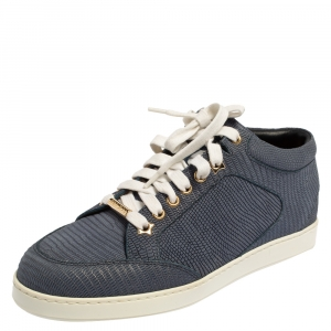 Jimmy Choo Blue Lizard Embossed Leather Miami Low Top Sneakers Size 37