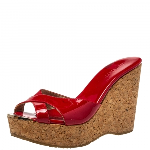Jimmy Choo Red Patent Leather Perfume Cork Wedge Platform Sandals Size 38.5 - used