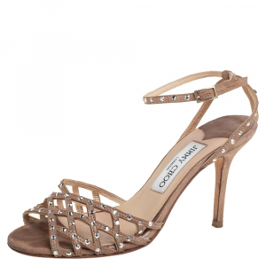 Jimmy Choo Metallic Beige Suede Crystal Embellished Cutout Sandals Size 36 - used