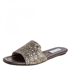 Jimmy Choo Metallic Gold Glitter  Flat Sandals Size 39