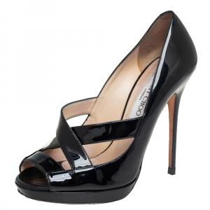 Jimmy Choo Black Patent Leather Gesture Cross Strap Peep Toe Pumps Size 36.5