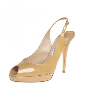 Jimmy Choo Beige Patent Leather Nova Peep Toe Platform Slingback Sandals