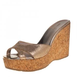 Jimmy Choo Glitter Leather Perfume Cork Wedge Platform Sandals Size 39