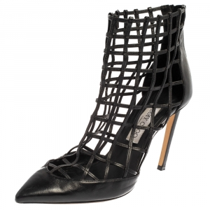 Jimmy Choo Black Leather Sheldon Caged Booties Size 39 - used