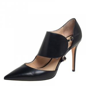 Jimmy Choo Black Leather Wide Ankle Strap Pumps Size 39