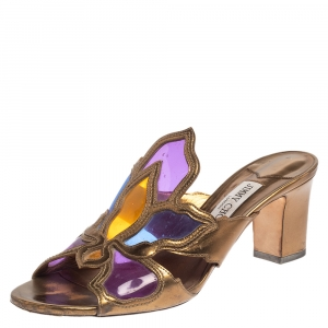 Jimmy Choo Multicolor Leather and PVC Lisa Slide Sandals Size 39.5