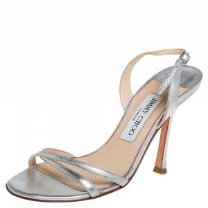 Jimmy Choo Metallic Silver Leather Slingback Sandals Size 35.5