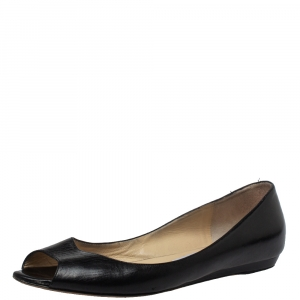 Jimmy Choo Black Leather Peep Toe Flats Size 39.5 - used