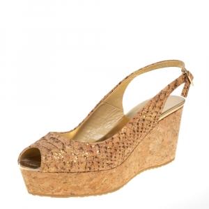 Jimmy Choo Beige Python Embossed Cork Wedge Slingback Sandals Size 38 - used