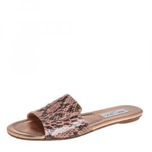 Jimmy Choo Pink Python Leather Nanda Sandals Size 38.5
