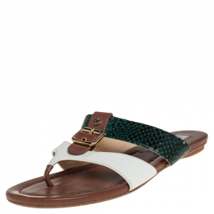 Jimmy Choo Multicolor Python And Leather Thong Sandals Size 39