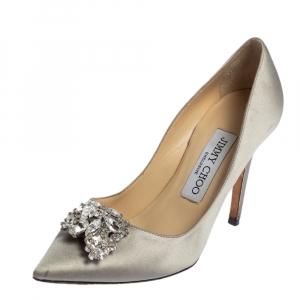 Jimmy Choo Grey Satin Manda Crystal Embellished Pointed Toe Pumps Size 35