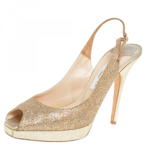 Jimmy Choo Gold Glitter Fabric Nova Peep Toe Platform Slingback Sandals Size 39 - used