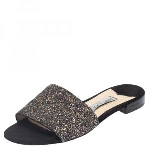 Jimmy Choo Black Twilight Glitter Fabric Joni Flat Slide Sandals Size 40 - used