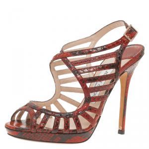 Jimmy Choo Red Python Keenan Python Platform Sandals Size 37.5 - used