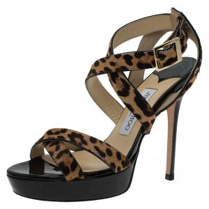 Jimmy Choo Leopard Pony Hair Vamp Platform Sandals Size 37 - used