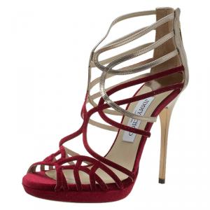 Jimmy Choo Red Velvet & Gold Leather Maury Strappy Sandals Size 37 - used