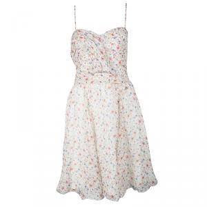 John Galliano Multicolor Floral Printed Silk Sleeveless Dress L - used
