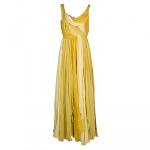 John Galliano Yellow Draped Silk Sleeveless Maxi Dress L