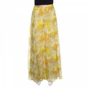 John Galliano Yellow Abstract Printed Silk Maxi A Line Skirt S
