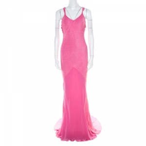 John Galliano Pink Textured Draped High Low Maxi Dress L