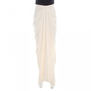 John Galliano Cream Draped Crepe Maxi High Low Skirt L