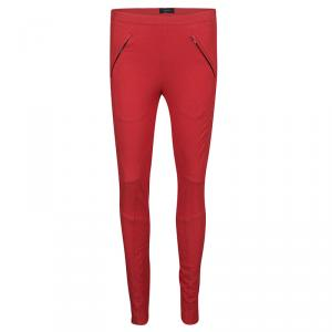 Joseph Red Stretch Gabardine Diamond Top Stitch Detail  Jeggings S