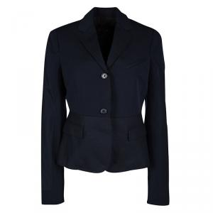 Joseph Navy Blue Gabardine Wool Frayed Trim Detail Bazz Blazer M