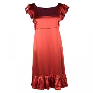 Joseph Red Silk Satin Ruffle Detail Sleeveless Bamako Dress L