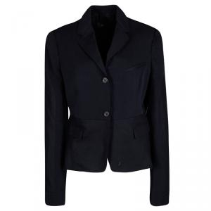 Joseph Navy Blue Gabardine Wool Frayed Trim Detail Bazz Blazer L