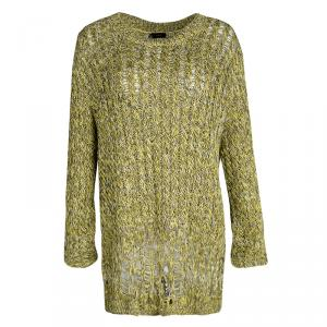 Joseph Mulitcolor Fatigue Deconstructed Chunky Cable Knit Pullover XL