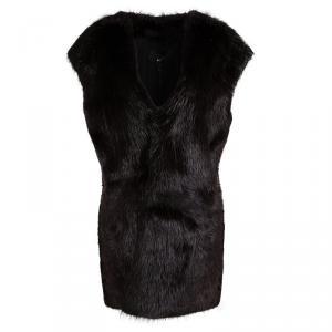 Joseph Burgundy Castor Fur Long Gigi Vest L