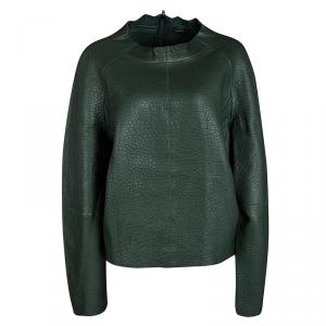 Joseph Forest Green Lambskin Bubble Leather Cropped Pullover L