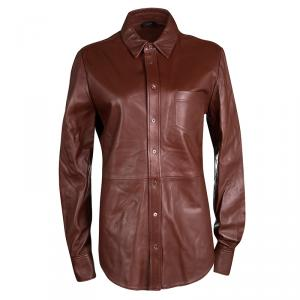 Joseph Chestnut Brown Lambskin Glove Leather Garcon Shirt M