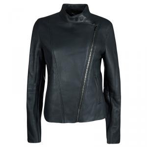 Joseph Forest Grey Lambskin Nappa Leather New Alpha Shearling Jacket M