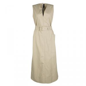 Joseph Beige Aged Cotton Teddy Sleeveless Belted Maxi Dress M