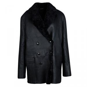 Joseph Black Island Merinos Ringo Double Breasted Lambskin Coat L