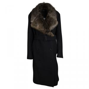Joseph Black Wool Contrast Fur Collar Drap De Laine Belted Overcoat L