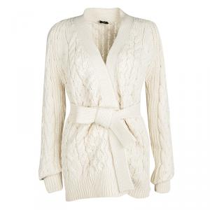 Joseph Cream Merino Wool Chunky Cable Knit Belted Cardigan M