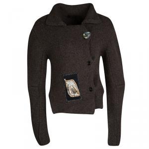 Joseph Mahogany Brown Button Knit Applique Detail Chunky Cardigan M