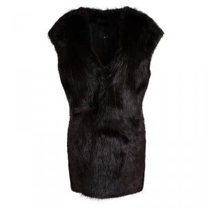 Joseph Burgundy Castor Fur Long Gigi Jacket L