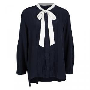 Joseph Navy Blue Silk Contrast Tie Detail Victoire Blouse L