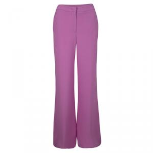 Joseph Purple Double Silk Wide Leg Felini Trousers L